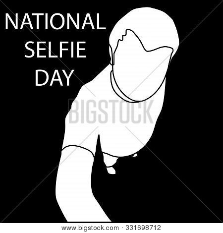 Outline Man Makes Photo For National Selfie Day. Isolated Stock Vector Illustration