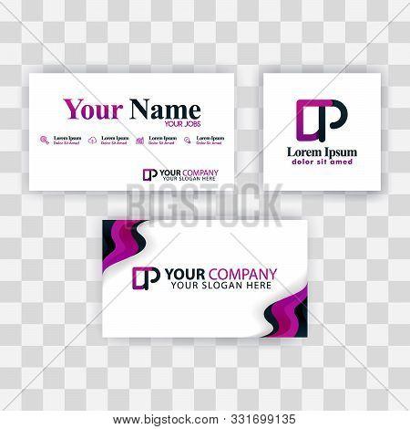 Clean Business Card Template Concept. Vector Purple Modern Creative. Pd Letter Logo Minimal Gradient