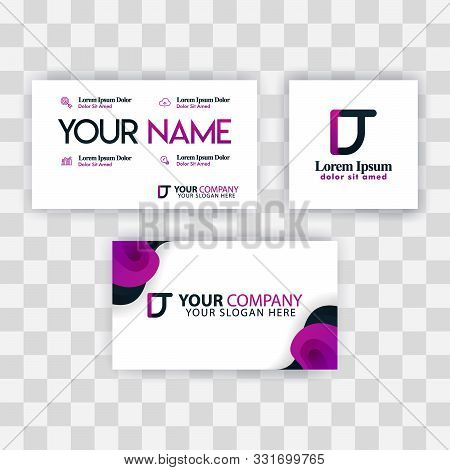 Clean Business Card Template Concept. Vector Purple Modern Creative. Td Letter Logo Minimal Gradient