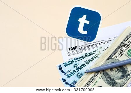 Tumblr Printed Logo Lies With 1040 Individual Income Tax Return Form With Refund Check And Hundred D