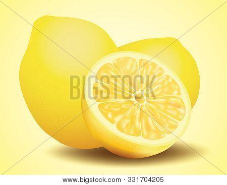 Fresh Lemon, Sliced And Whole Fruit, Vector Illustration