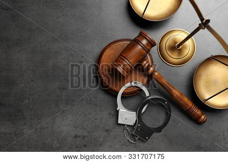 Judge's Gavel, Handcuffs And Scales On Grey Background, Flat Lay With Space For Text. Criminal Law C