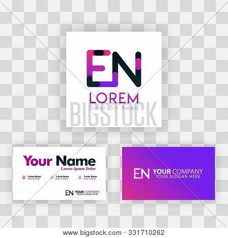 Vector Purple Modern Creative. Clean Business Card Template Concept. Ne Letter Logo Minimal Gradient