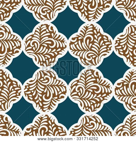 A Seamless Vector Pattern With Quatrefoil Gingerbread Cookies On A Teal Background. Surface Print De