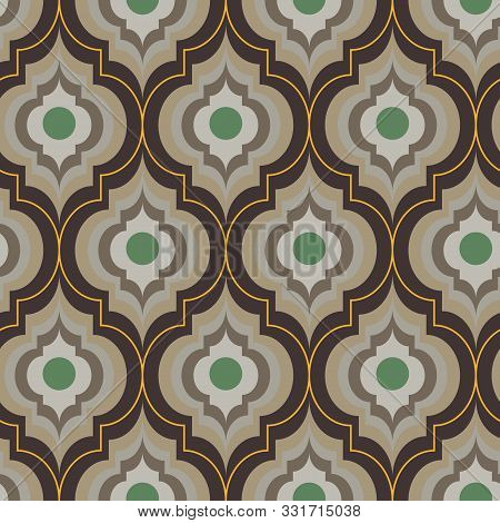 A Seamless Vector Moroccan Trellis Pattern In Sand And Brownc Colors. Geometric Ornate Surface Print