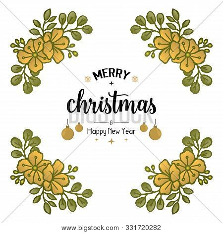Greeting Card Background Merry Christmas And Happy New Year, With Shape Pattern Leaf Flower Frame. V