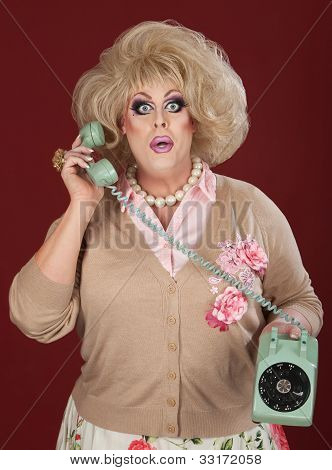Stunned Drag Queen On Phone Call