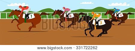 Horse Racing Competition Flat Vector Illustration. Competitors Cartoon Characters. Professional Jock