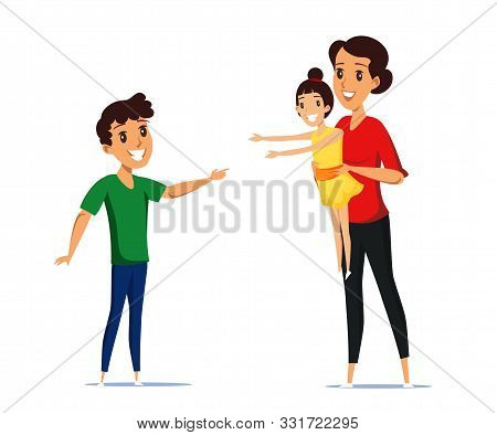 Cheerful Mother With Kids Flat Vector Illustration. Smiling Nanny, Babysitter, Boy And Girl Cartoon