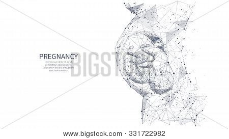 Closeup Of An Abstract Pregnant Woman With Embryo In Her Maw Side View. Isolated Pregnancy Medical C