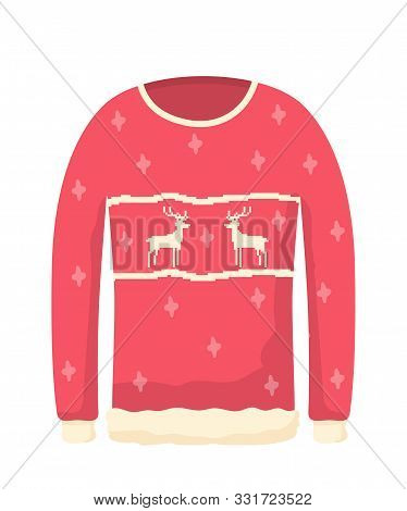 Ugly Knitted Sweater Flat Vector Illustration. Xmas Themed Clothes, Red Warm Jumper With Reindeers.