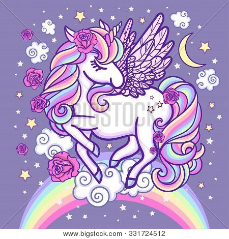 A White, Beautiful Unicorn On A Rainbow Surrounded By Stars And Roses. Fantasy Animal. For Your Desi