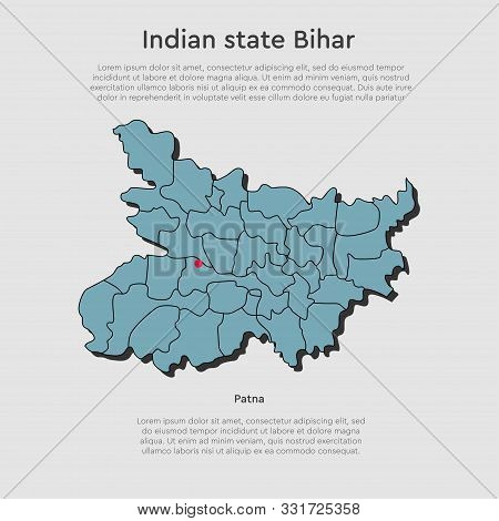 India Country Map Bihar State Template Background
