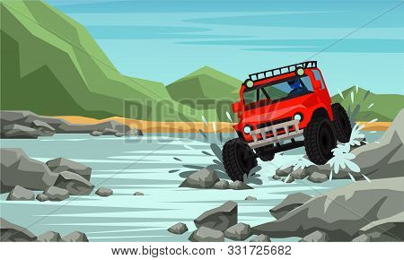 4x4 Off Road Racing Flat Banner Vector Template. Auto Competition, Extreme Championship. Automobile