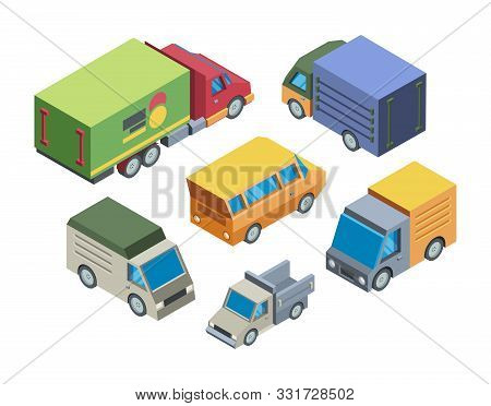Truck Models Isometric 3d Vector Illustrations Set