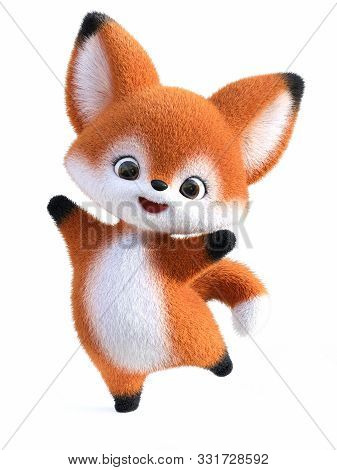 3d Rendering Of An Adorable Happy Cute Furry Cartoon Fox Jumping For Joy. White Background.