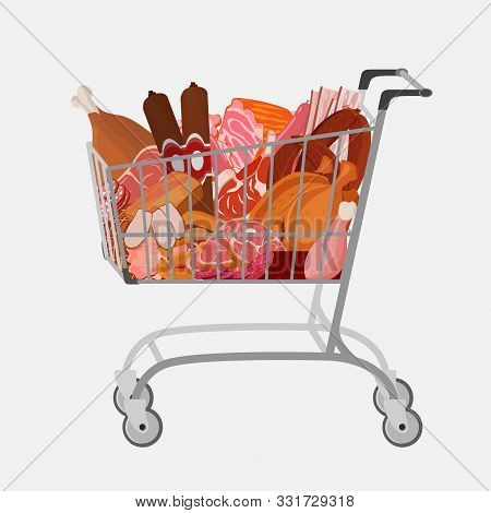 Shopping Cart With Different Meat Such As Roast Chicken And Prime Rib, Sausage, Salami And Ham, Sirl