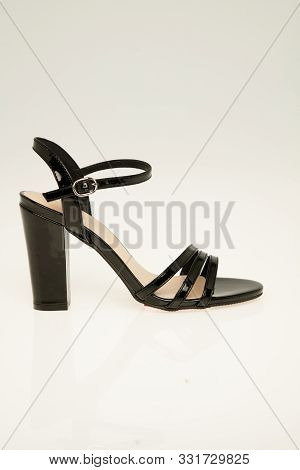 Sexy Black Buckle Pointy Toe Single Sole High Heels Leather With White Background