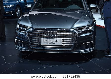 Geneva, Switzerland - March 05, 2019: Audi A6 L 55 Tfsi E Quattro At 89Th Gims