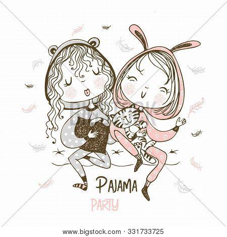 Cute Girls In Pajamas Have Fun At A Pajama Party. Vector