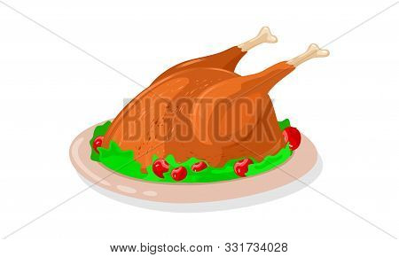 Crisp Roasted Whole Chicken Garnished By Greenery And Red Cherries Is On Dish. Fried Turkey Or Goose