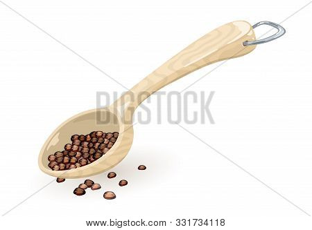 Black Pepper Corns Or Peppercorn Are In Measuring Wooden Or Plastic Spoon, Scoop. Coffee Beans Spill