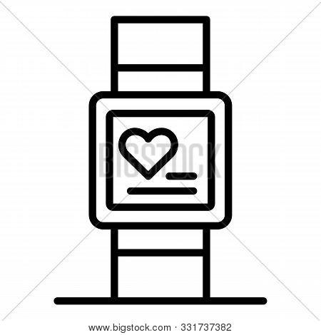 Heart Monitor Bracelet Icon. Outline Heart Monitor Bracelet Vector Icon For Web Design Isolated On W