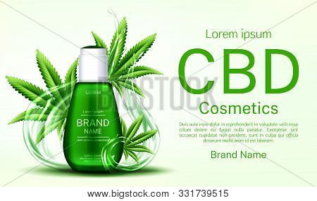 Cbd Cosmetics Bottle With Water Splashes And Cannabis Leaves Web Banner Mockup, Glass Tube With Hemp