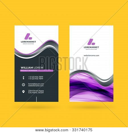 Vertical Double-sided Black And Red Modern Business Card Template. Vector Illustration. Stationery D