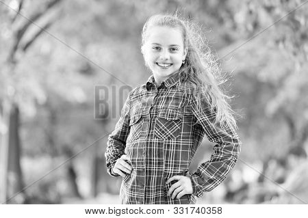 Windproof Hairstyles. Girl Little Cute Child Enjoy Walk On Windy Day Nature Background. Hairstyles T