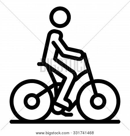 Man Riding Bike Icon. Outline Man Riding Bike Vector Icon For Web Design Isolated On White Backgroun