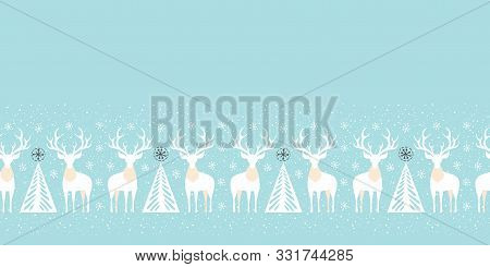 Winter Holidays Vector Seamless Pattern Border With White Deers, Fir Trees And Snowflakes On Christm