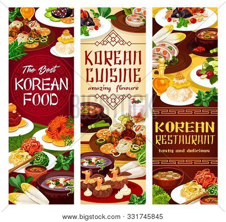 Traditional National Food Of Korean Cuisine. Vector Carp, Hee From Beef, Ribs In Pot Of Radish, Sala