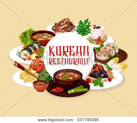 Soup And Salads, Korean Cuisine Dishes Round Frame. Vector Noodles With Beef, Salad With Cilantro An