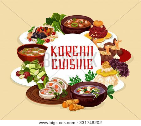 Korean Cuisine Banners, Soups And Salads. Vector Steamed Sausage, Orienge Shukrim Pang, Carp With So