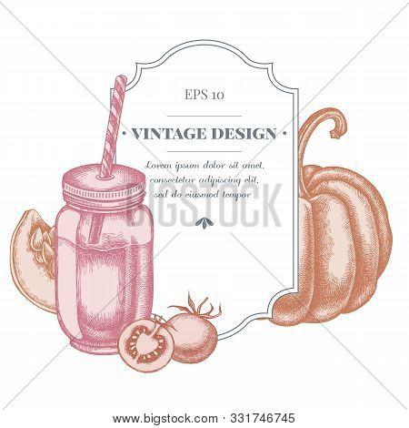 Badge Design With Pastel Cherry Tomatoes, Pumpkin, Smothie Jars Stock Illustration