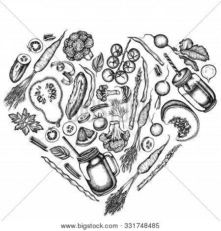 Heart Design With Black And White Lemons, Broccoli, Radish, Green Beans, Cherry Tomatoes, Beet, Gree