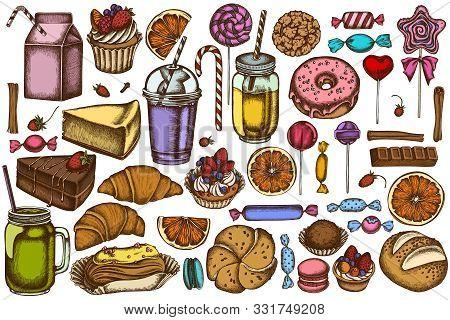 Vector Set Of Hand Drawn Colored Cinnamon, Macaron, Lollipop, Bar, Candies, Oranges, Buns And Bread,