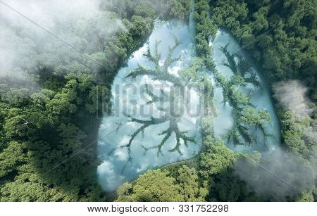 Green Lungs Of Planet Earth. 3d Rendering Of A Clean Lake In A Shape Of Lungs In The Middle Of Virgi