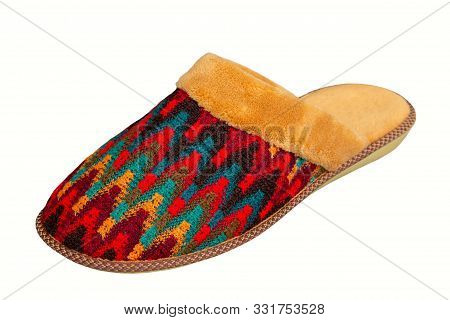 Womens Slippers Isolated, One Winter Colorful Slippers On A White Background, Winter Slippers