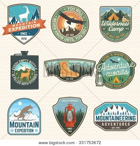 Mountain Expedition And Outdoor Adventure Badges. Vector Illustration. Concept For Badge, Patch, Shi