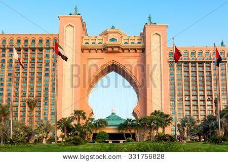 Dubai, United Arab Emirates - August, 2019: Famous Luxury Atlantis Hotel In Dubai, Uae