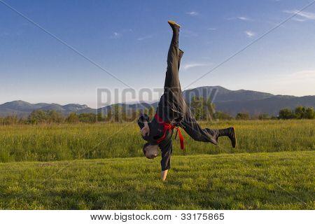Girl practice martial art outdoor