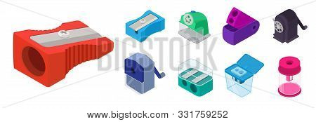 Sharpener Icons Set. Isometric Set Of Sharpener Vector Icons For Web Design Isolated On White Backgr