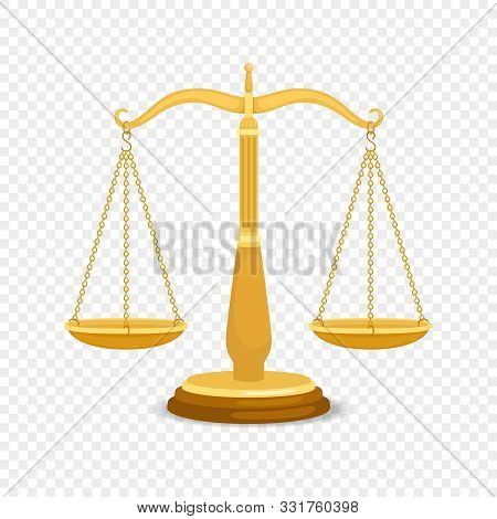 Balancing Metal Scales. Gold Business Or Golden Justice Retro Scales, Precision Balanced Weighting,