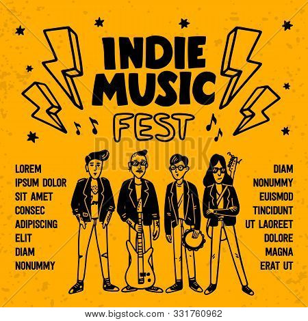 Indie music festival poster or flyer template. Illustration of musicians and and indie rock fest inscription on yellow background. Template for banner, card, poster. Vector. poster