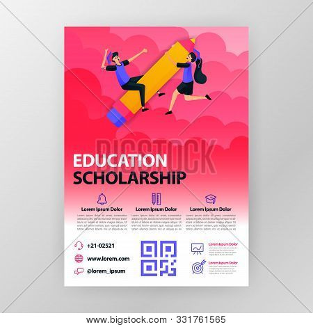 Business Seminar Posters About Learning And Education Scholarships With Flat Cartoon Illustration. F