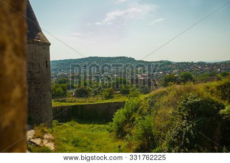 Hunedoara, Romania: View Of The Beautiful Summer Landscape, View From The Castle Corvin Castle, Huny