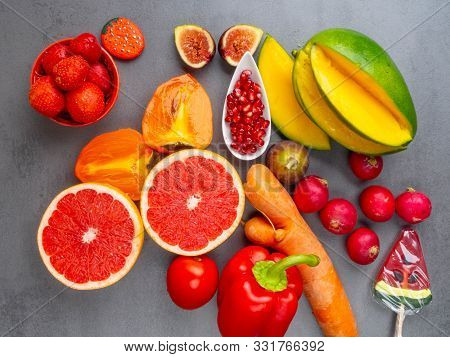 Close Up Of Bright Red, Orange Healthy Fruits And Vegetables Products For Immunity Boosting, Rich In