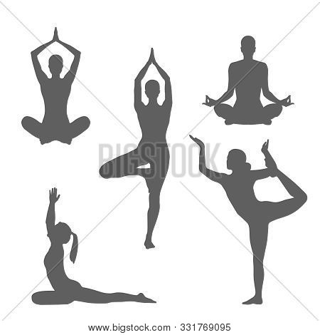 Set Symbols Yoga Poses. Women Silhouettes In Different Poses Yoga.  Isolated Gray Signs On White Bac